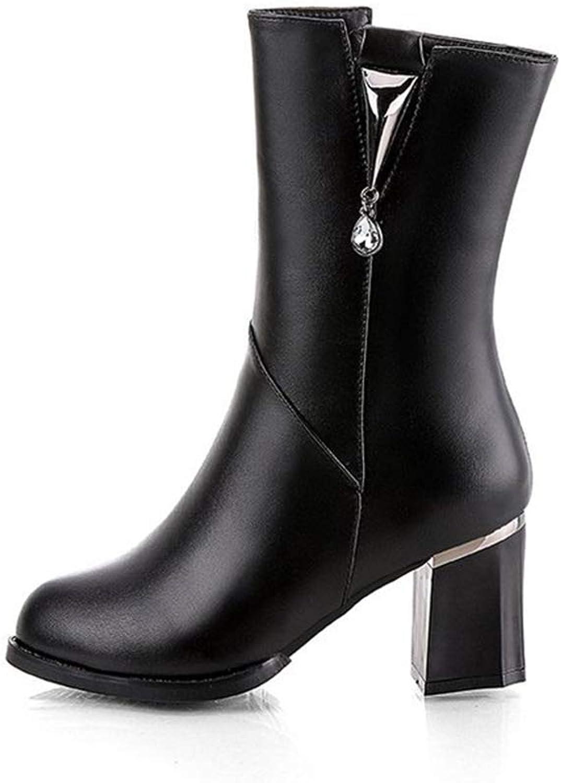 MINIKATA Women's Martin Ankle Booties Rhinestone Chunky High Heel Platform Boots