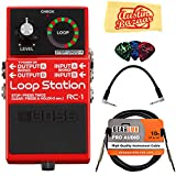 BOSS RC-300 Loop Station Bundle w/Power Supply, XLR Cable, 2 Patch Cables, 2 Instrument Cables, 2 MIDI Cables, Tuner, Picks, and Austin Bazaar Polishing Cloth