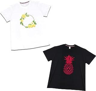 الأناناس الليمون تي شيرت الرجال والنساء بأكمام قصيرة سوداء/أبيض القطن الصيف أزياء تي شيرت 2 قطعة (Size : Medium)