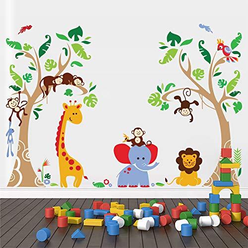 Runtoo Vinilo Infantiles Pared Animales Pegatinas de Pared Jungla Árboles Stickers Adhesivos Mono Jirafa Elefante Decorativas Habitacion Bebe
