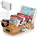 BambuMate Bamboo Charging Station for Multiple Devices, 7 Slot Wood Docking Electronic Organizer for Phones, Tablets, Laptop More (with 5Port USB Charger, Watch Stand, 5 Charge Cable)