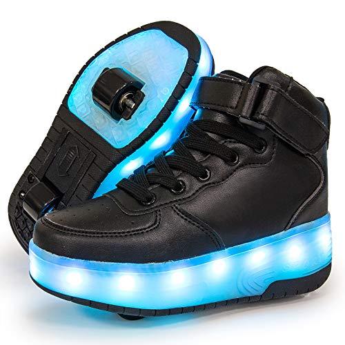 Charmstep Unisex Kinder LED Roller Schuhe mit USB Aufladen Doppelräder Leuchten Skateboardschuhe Sportarten Turnschuhe für Jungen Mädchen,Schwarz,32 EU