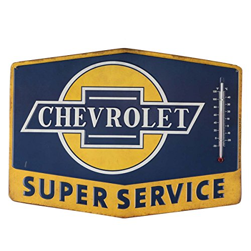 Open Road Brands Chevrolet Blue and Yellow Tin Metal St Thermometers Sign Wall Art - an Officially Licensed Product Great Addition to Add What You Love to Your Home/Garage Décor