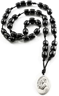 St. Anthony Rosary Chaplet | with Black Wood Beads and Medal