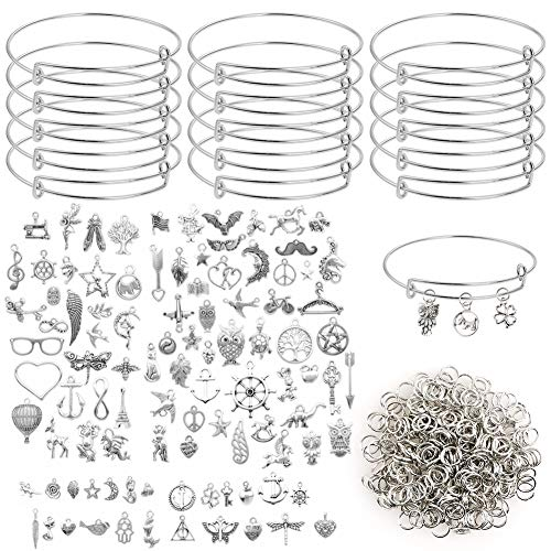 30Pcs Expandable Bangle Bracelets Adjustable Wire Bangles with 100 Pcs Silver Charms Pendants for DIY Jewelry Making, Including Hundreds of Jump Rings