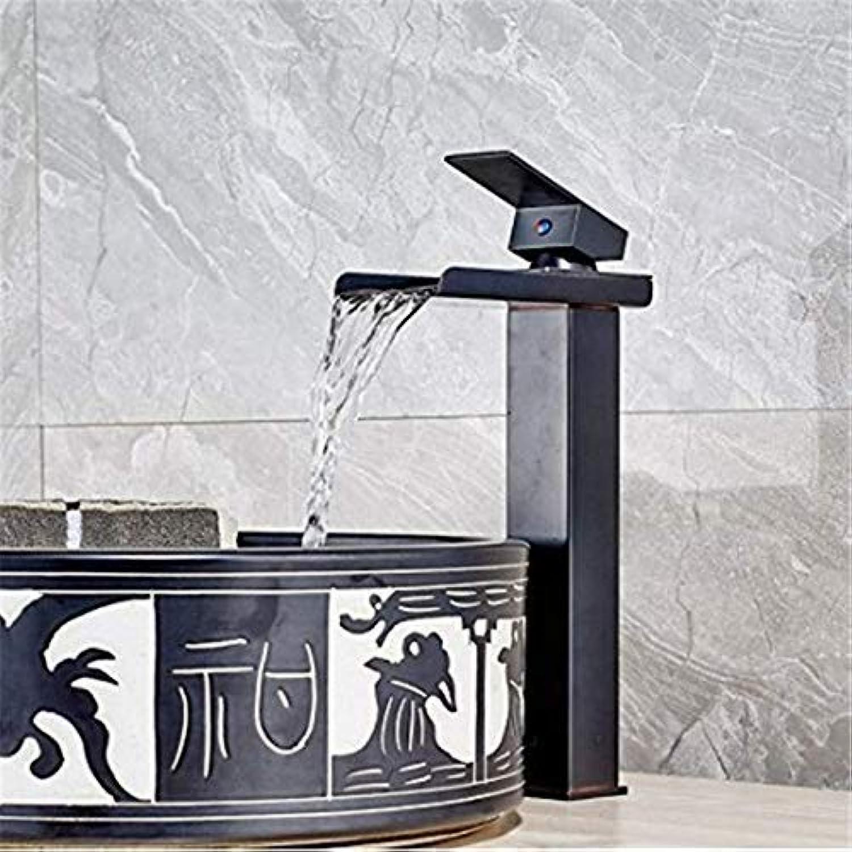 Luxus wasserfall wasserhahn deck waschbecken wasserhahn einhebel messing schwarz bronze waschbecken wasserhahn mischer