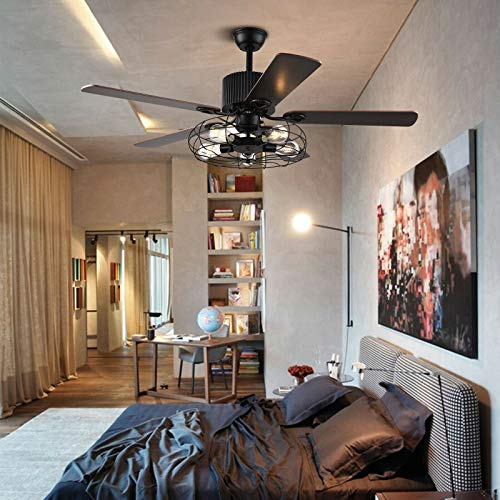 Ventilador de techo moderno de 52 pulgadas, pantalla redonda curvada, lámpara de araña, lámpara de ventilador, luz de 3 velocidades, con mando a distancia