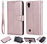 XYX Wallet Case for LG X Power, 2 in 1 Solid Color PU Leather Wallet Case with Magnetic Car Mount Protective Case for LG X power/K220/LS755/US610/K450 (Rose Gold)