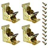 Goodies'Bay Folding Brackets 4 PCS Lock Extension Support for Table Bed Leg Bronze Steel Foldable Hinge Hardware with Screws (Gold)