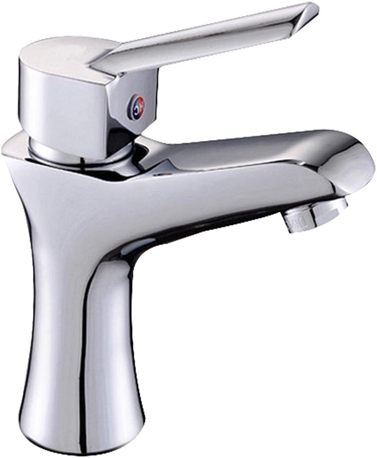 QJIAXING Basin Faucet Hot and Cold Mixed Water Faucet Copper Single Hole Single Handle Ceramic Spool