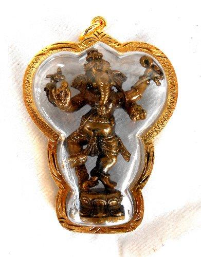Figur Ganesha Ganesh Anhänger 6,8x4,8 cm (Figur 5x3,5cm) Bronze
