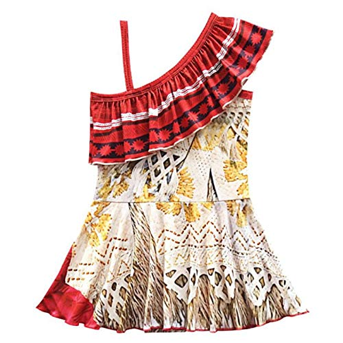 Brogtorl Kids Girls Clothes Cosplay Princess Dress Moana Children Vaiana Girls Party Costume Dresses With Necklace Girl Set