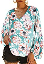Dokotoo Womens Fashion 2019 Elegant Female Autumn Casual Floral Printed Loose Shirt Balloon Long Sleeve V-Neck Boho Blouses Tops Shirts for Womens Medium