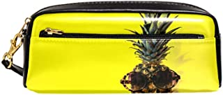 EGGDIOQ Leather Pencil Pen Bag Case Large Capacitywith Pineapple Ideal for School/College/Uni.- Make up Bag