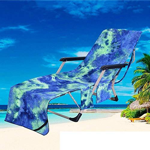 JIGAN Funda para Silla De Playa, Funda De Toalla Azul para Chaise Lounge con Bolsillos De Almacenamiento, para Broncearse, Piscina, Tumbona, Hotel, Vacaciones