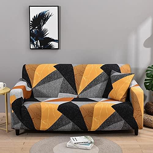 ASCV Fundas de sofá elásticas para Sala de Estar Fundas de sofá de Esquina seccionales Modernas Fundas geométricas para sofá Protector de Silla A9 4 plazas