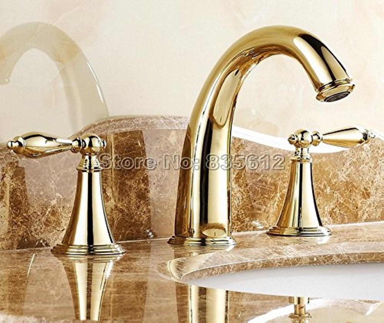 Retro Deluxe FaucetingTen Stil Optionale 3-Loch weit verbreitete Deck montiert Bad Armatur Waschtisch Armatur Waschbecken Tippen Messing Badewanne Armaturen JW002, Messing, Golden