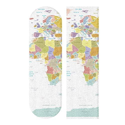 Politische Karte Skateboard Griptape, Longboard Griptape, Scooter Grip Tape, Schleifpapier für Rollbrett, Treppen, Pedal, Rollstuhl, Stufe, 1 Blatt