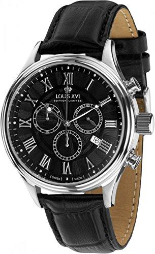 LOUIS XVI Herren-Armbanduhr Danton Silber Schwarz Römische Zahlen Chronograph Analog Quarz echtes Leder Schwarz 396