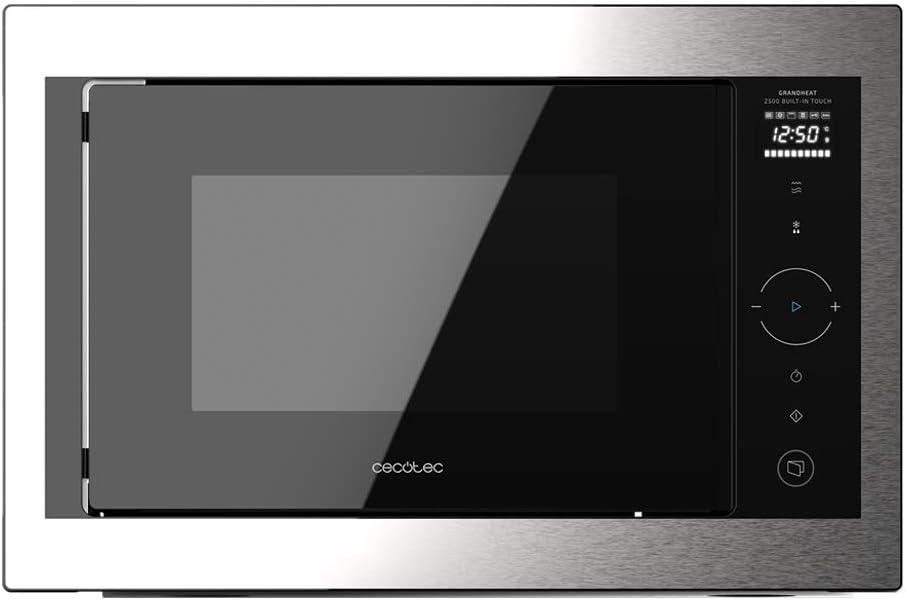Cecotec Microondas Encastrable Digital GrandHeat 2500 Built-In Touch SteelBlack. 900 W, Integrable, 25 L, Grill de 1000 W, 8 Funciones Preconfiguradas, Temporizador, Panel de Control Táctil