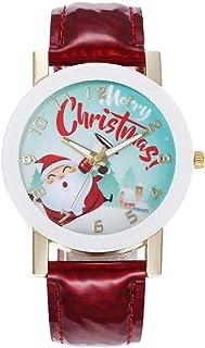 Hemobllo Montre-Bracelet Analogique à Quartz Adorable Père Noël Sorcière Bracelet en Cuir Montre Cadeau de Noël pour Enfan...