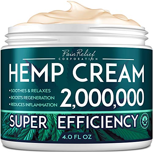 Рain Relief Hemp Cream 2,000,000 - Made in United States - Natural Hemp Extract Cream for Arthritis, Back & Muscle Рain Relief - Efficient Inflammation Cream & Carpal Tunnel Relief