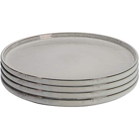 ProCook Oslo - Vaisselle de Table en Grès - Style Artisanal - 4 Pièces - 28cm - Grande Assiette - Glaçure Réactive - Gris