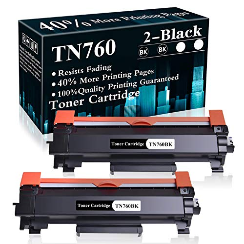2 Black TN760 Toner Cartridge Replacement for Brother DCP-L2550DW MFC-L2710DW L2750DW L2750DWXL HL-L2350DW HL-L2370DW L2390DW L2395DW Printer,Sold by TopInk