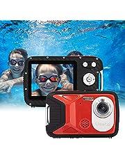 """GDC8026 Fotocamera digitale impermeabile/Zoom digitale 8x / 16 MP / 1080P FHD/Schermo LCD TFT da 2,8""""/ Telecamera subacquea per bambini/Adolescenti/Studenti/Principianti/Anziani (Rosso)"""