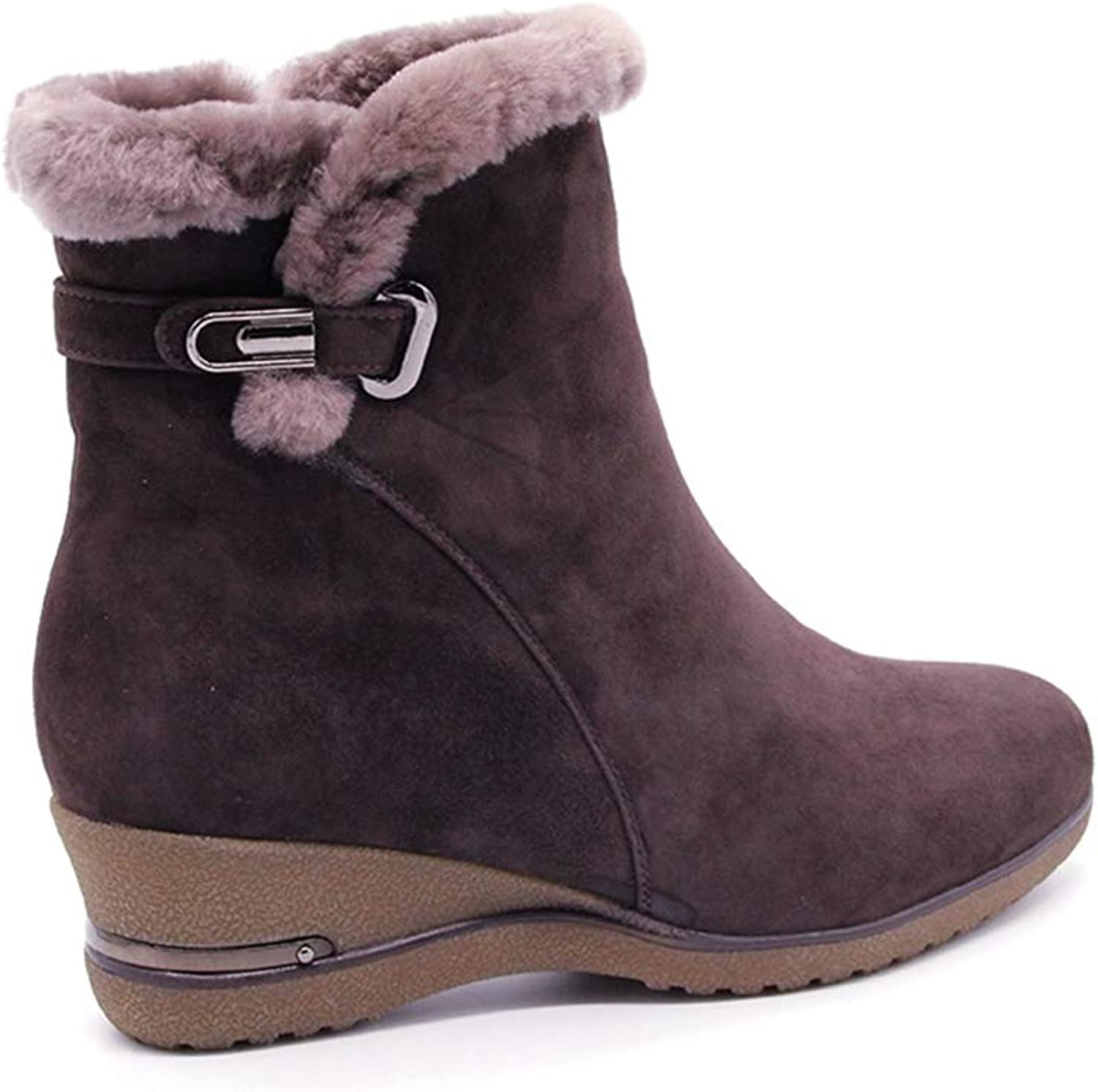 T-JULY Winter Women 's Snow Boots Fashion Wedge Platform Real Leather Wool Fur Cross Strap Ankle shoes