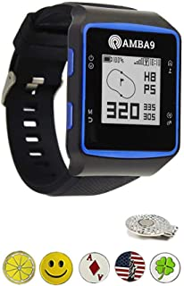 Amba9 GPS Golf Watch Bundle with 5 Ball Markers and 1 Hat Clip - Rangefinder with Preloaded Courses, Step Tracking, Distance to Hole Measurements, and Par Info - Lightweight, Black