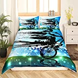 Loussiesd Jungen Bettbezug Set Dirt Bike Sport Bettwäscheset 135x200cm BMX Rider Silhouette Blau Grün Extreme Fahrrad Bettwäsche 2 Stück für Kinder Männer Mikrofaser Betten Set