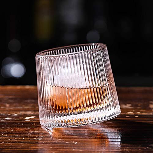 Lijia jarras de Cerveza,Copas de Cerveza Taza Espiral Taza de Whisky Vidrio sin Plomo con Textura Especial en la Superficie Transparente y Brillante Giratorio 360 ° fácil de Limpiar Duradero