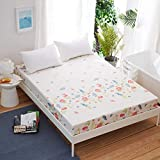 DBDA 1 Funda de colchón con sábana Ajustable Impresa en Cuatro Esquinas con sábana Ajustable elástica (sin Fundas de Almohada)-Xiaoqingxin_180X200CM