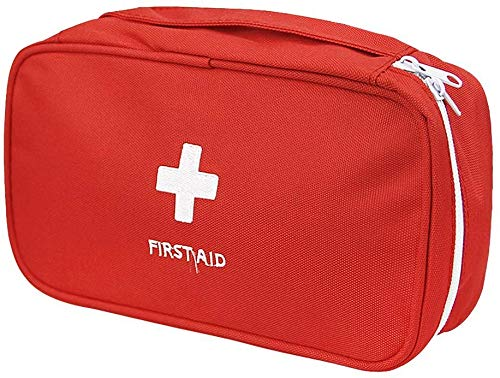 First Aid Bag - First Aid Kit Bag Empty for Home Outdoor Travel Camping Hiking, Mini Empty Medical Storage Bag Portable Pouch (Red)