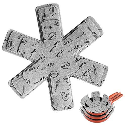SEOLQX 12 Protectores de ollas y sartenes, Almohadillas divisorias de Primera Calidad con Estampado Gris para Evitar rayones, Separar y Proteger Superficies para Utensilios de Cocina, 12 Unidades