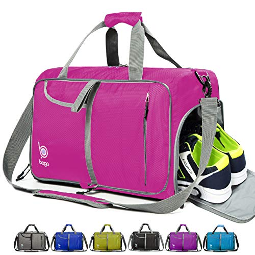 bago Gym Bags for Women and Men - Small Packable Sports Duffle Bag for Women with Shoe Compartment and Wet Pocket (40 Liter Pink)