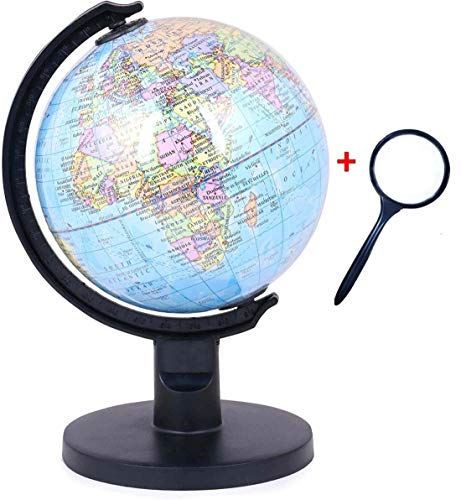GeoKraft Educational 5 Inch Political Plastic Base STEM Globe with Magnifying Glass for Kids (Blue)