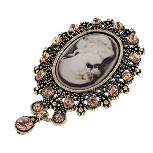 Bonarty Pin de Broche de Retrato de Reina de Diseño Occidental Vintage para Mujeres Niñas Boda Caliente