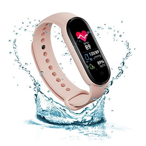 Yagor IP67 impermeable M6 Smart Fitness Tracker para mujeres y hombres, pulsómetro, seguimiento de calorías, reloj