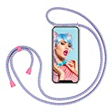 ZhinkArts Smartphone Necklace Case Compatible with Apple iPhone XR - 6,1' Display - Cover with Cord Neck Strap - Mobile Phone Collar Case with Lanyard to wear in Bubble Gum
