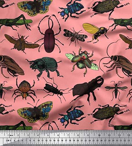 Soimoi Tela Estampada De Gasa Viscosa Naranja Escarabajo Y Tela Estampada Con Insectos De Abejas Melíferas Por El Patio De 42 Pulgadas De Ancho