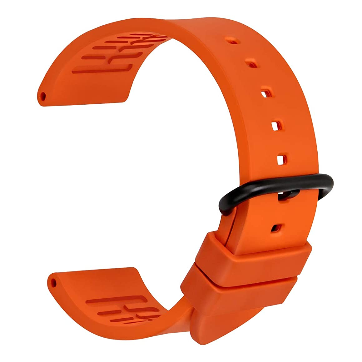 MAIKES Waterproof Watch Band, Fluoro Rubber Watch Strap 20mm 22mm 24mm Replacement Watchband with Stainless Steel Buckle, Tools for Men Women