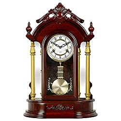 JGYu Fireplace Clock with Pendulum Desk Clock Hourly Chime Wood Retro Mantle Clock Clockwork Drive Desktop Clocks, Household Decor Table Clocks (Color : Redwood)