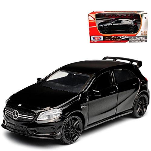 Motormax Mercedes-Benz A-Klasse W176 A45 AMG 5 Türer Schwarz 2012-2018 1/43 Modell Auto mit individiuellem Wunschkennzeichen