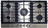 Kaiser KG 9356 Turbo, Plaque de cuisson à gaz 90 cm, En acier inoxydable exclusif - Autonome - Cuisinière - 5 brûleurs de qualité supérieure - 4,5 kW - Brûleur WOK - Gaz naturel et propane possibles