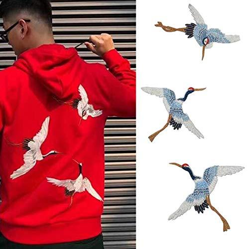 Chinesische Patches für Kleidung Stickerei Applique Nähen Sie auf Crane Birds Decor DIY Bestickte Aufkleber für Kleidung 3 Stück/Set