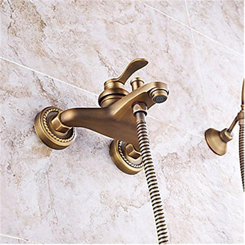 YFF Erstklassige Badezimmer Wand montiert Messing antik Badewanne Armatur mit Handbrause einstellen