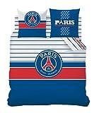 CTI 041228 Housse de Couette 240 x 220 cm + Taie d'Oreiller 63 x 63 cm Imprimé PSG Logo Bleu/Blanc/Rouge