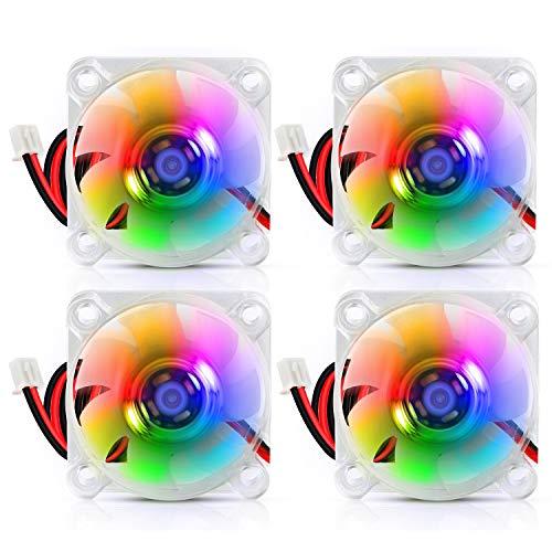 Ventola di raffreddamento con cuscinetto idraulico da 40mm 24V DC brushless LED RGB 4010 40 x 40 x 10 mm 0,05 A per stampanti 3D, PC, custodia, CPU (4 pezzi)
